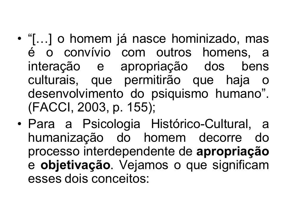 […] o homem já nasce hominizado, mas é o convívio com outros homens, a interação e apropriação dos bens culturais, que permitirão que haja o desenvolvimento do psiquismo humano . (FACCI, 2003, p. 155);